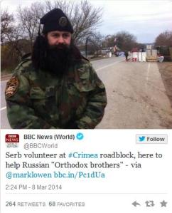 "A Serb ""helping"" with peacekeeping duties in the Crimea.  Just in case you thought the Balkan wars parallels were not prominent enough..."