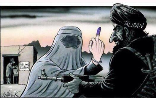 election, showing the finger to the Taliban