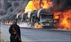 Oil tankers ablaze, July 2014