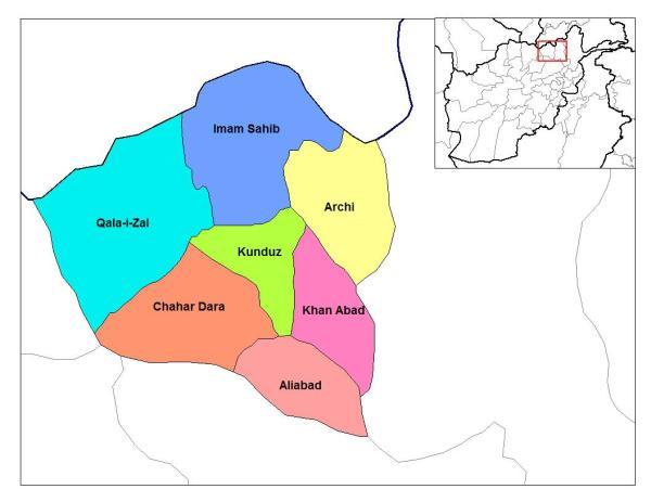 Map, Konduz province districts