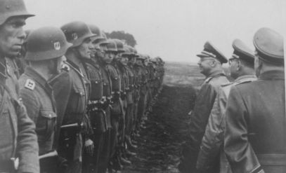 SS Chief Heinrich Himmler inspects troops of the 14