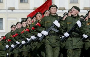 russian soldiers on parade